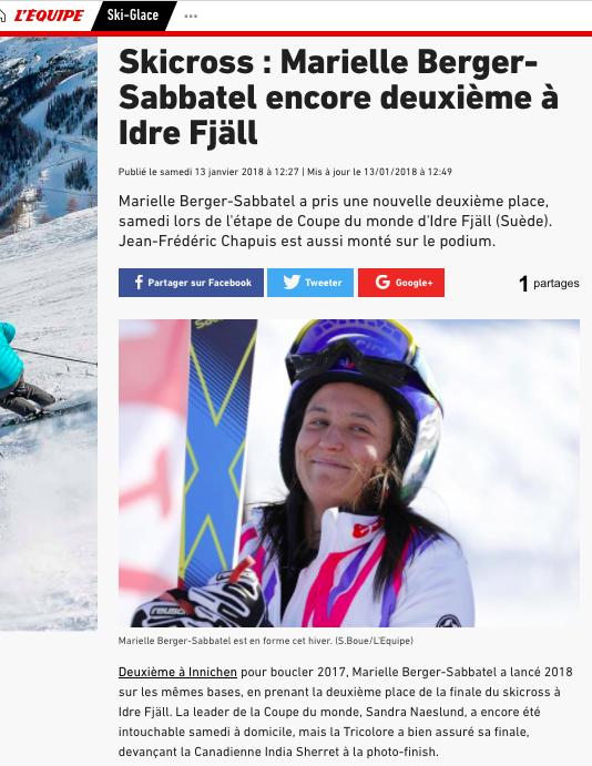 Marielle Berger -Sabbatel en forme cet hiver
